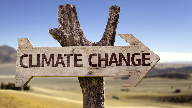 Climate Change wooden sign with a desert background_Sage Sustainable Electronics