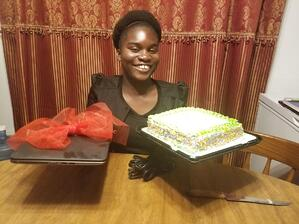 Girl received laptop along with birthday cake