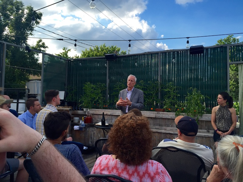 Sage CEO Bob Houghton speaking at Green Drinks event