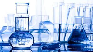 flasks and beakers in a lab
